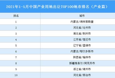 产业地产投资情报:2021年1-5月中国产业用地出让TOP100地市排名(产业篇)