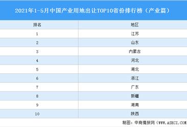 产业地产投资情报:2021年1-5月中国产业用地出让TOP10省份排名(产业篇)