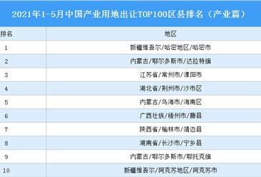 产业地产投资情报:2021年1-5月中国产业用地出让TOP100区县排名(产业篇)