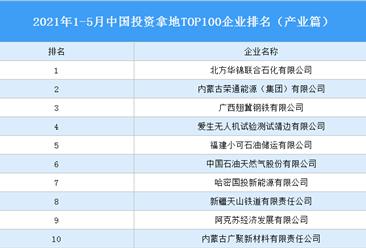 产业地产投资情报:2021年1-5月中国投资拿地TOP100企业排行榜(产业篇)