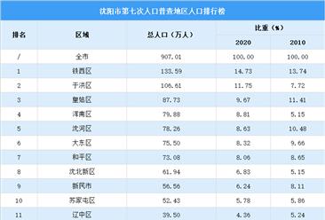 沈阳第七次人口普查各地区人口排行榜:铁西于洪人口超百万(图)