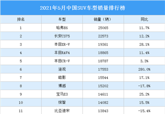 2021年5月中国SUV车型销量排行榜