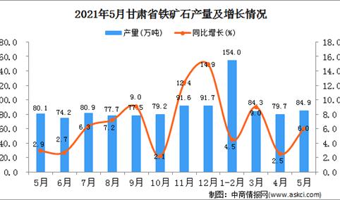 2021年5月甘肃省铁矿石产量数据统计分析