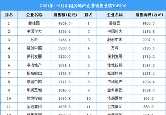 2021年1-6月中国房地产企业销售业绩排行榜TOP200