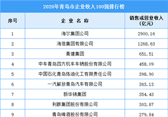 2020年青岛市企业收入排行榜TOP100