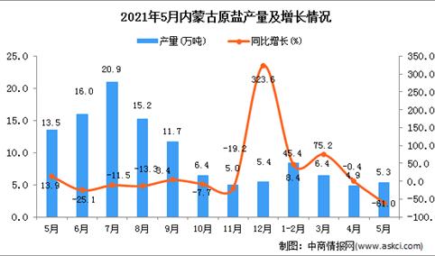 2021年5月内蒙古原盐产量数据统计分析