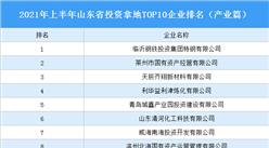 产业地产投资情报:2021年上半年山东省投资拿地TOP10企业排名(产业篇)
