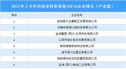 产业地产投资情报:2021年上半年河南省投资拿地TOP10企业排名(产业篇)