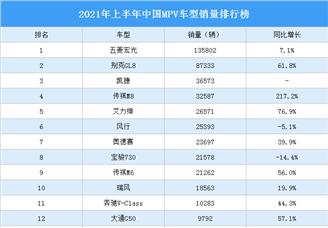 2021年上半年中国MPV车型销量排行榜