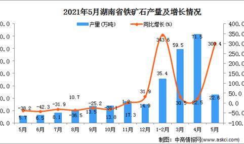 2021年5月湖南省铁矿石产量数据统计分析
