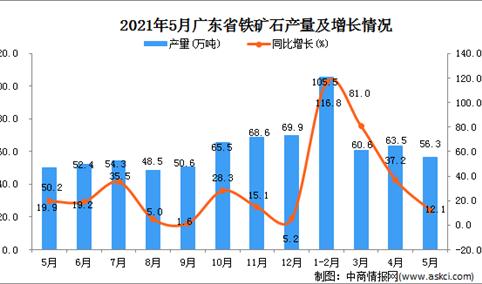 2021年5月广东省铁矿石产量数据统计分析