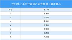 2021年上半年甘肃省产业投资前十城市排名(产业篇)