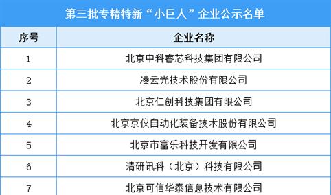 """第三批专精特新""""小巨人""""企业公示名单公布(附全名单)"""