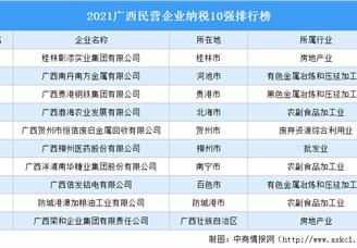 2021广西民营企业纳税10强排行榜(附完整榜单)