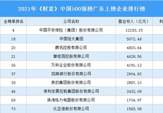 2021年《财富》中国500强榜广东上榜企业排行榜(附榜单)