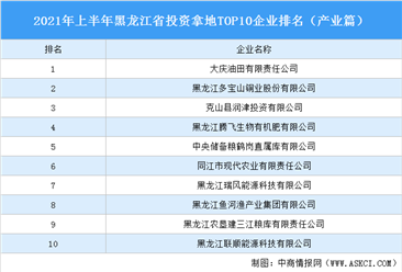 产业地产投资情报:2021年上半年黑龙江省投资拿地TOP10企业排名(产业篇)