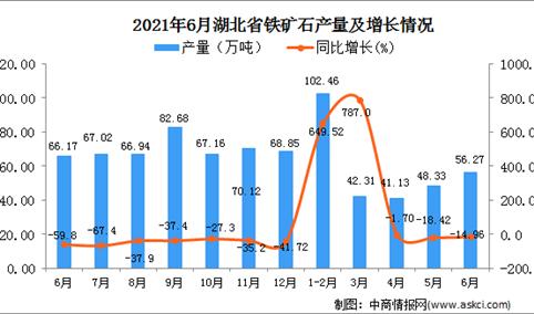 2021年6月湖北省铁矿石产量数据统计分析