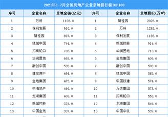 2021年1-7月全国房地产企业拿地排行榜TOP100