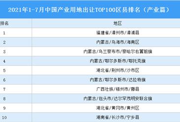 产业地产投资情报:2021年1-7月中国产业用地出让TOP100区县排名(产业篇)