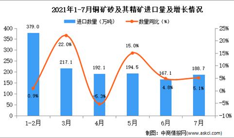 2021年7月中国铜矿砂及其精矿进口数据统计分析