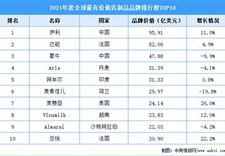 2021年度全球最有价值乳制品品牌排行榜TOP10