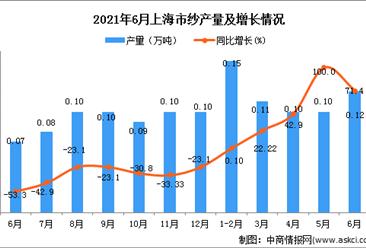 2021年6月上海市纱产量数据统计分析