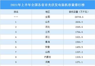 2021年上半年全国各省市光伏发电装机容量排行榜(附榜单)