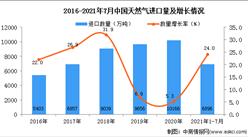 2021年1-7月中国天然气进口数据统计分析