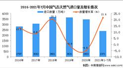 2021年1-7月中国气态天然气进口数据统计分析
