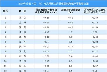 2020年中国万元地区生产总值能耗降低率公报:北京降幅最大(图)