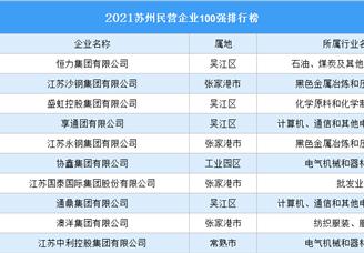 2021苏州民营企业100强排行榜(附榜单)