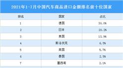 2021年1-7月中国汽车商品进口情况:德国汽车商品进口金额最高(图)