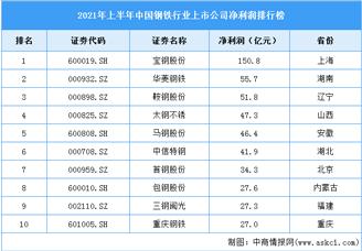 2021年上半年中国钢铁行业上市公司净利润排行榜(附全榜单)
