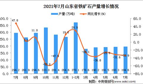 2021年7月山东省铁矿石产量数据统计分析