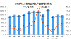 2021年7月湖南省水泥产量数据统计分析