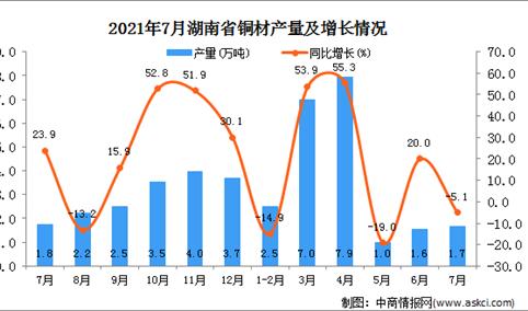 2021年7月湖南省铜材产量数据统计分析