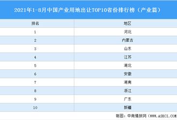 產業地產投資情報:2021年1-8月中國產業用地出讓TOP10省份排名(產業篇)