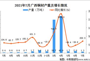 2021年7月广西壮族自治区铜材产量数据统计分析