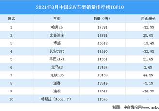 2021年8月中国SUV车型销量排行榜TOP10(附榜单)