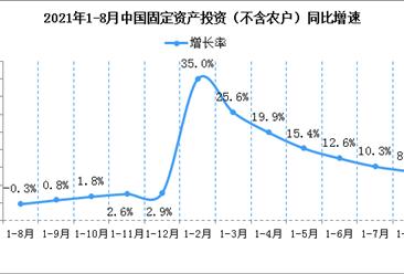 2021年1-8月份全国固定资产投资(不含农户)增长8.9%