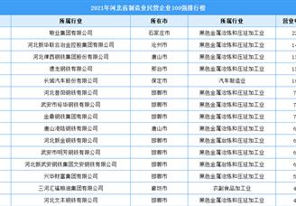 2021年河北省制造业民营企业100强排行榜(附全榜单)