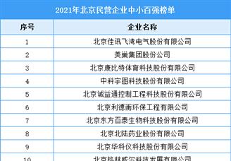 2021年北京民营企业中小百强排行榜(附全榜单)