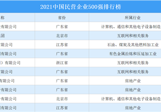 2021中国民营企业500强排行榜(附完整榜单)