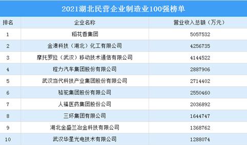 2021湖北民营企业制造业100强排行榜(附完整榜单)