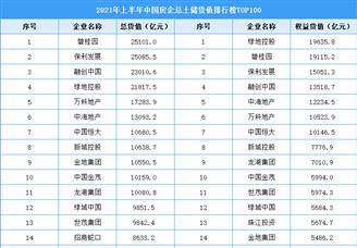 2021年上半年中国房企总土储货值排行榜TOP100
