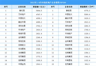 2021年1-9月中国房地产企业销售排行榜TOP200