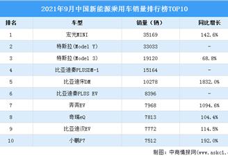 2021年9月中国新能源乘用车销量排行榜TOP10(附榜单)
